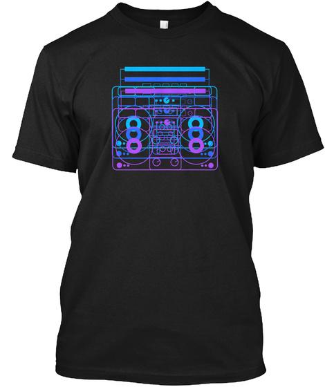 Retro Radio Dark Black T-Shirt Front
