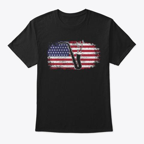 Saxophone Usa Flag Patriot Saxophonist Black T-Shirt Front