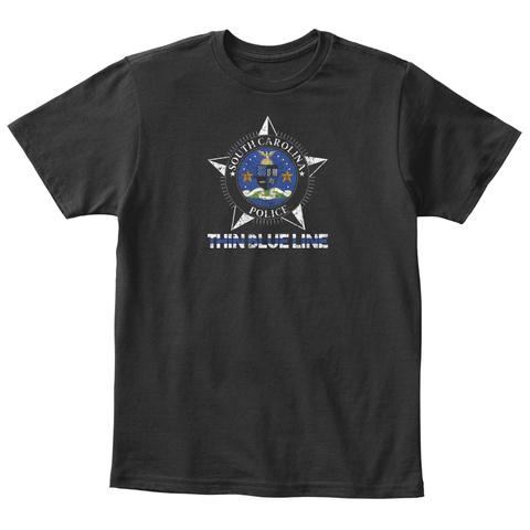 South Carolina Police Shirt Thin Blue Black T-Shirt Front