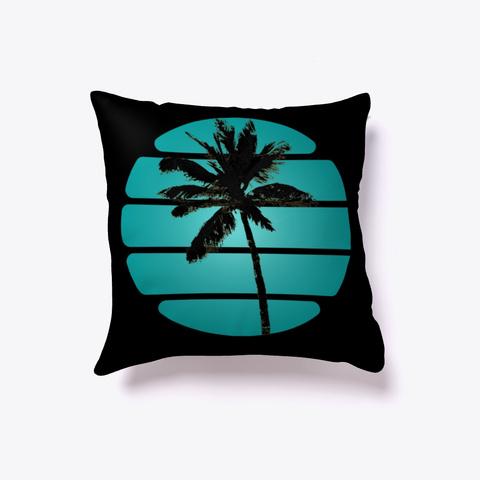 Palm Tree Black Black T-Shirt Front