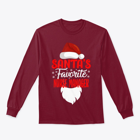 Santa's Favorite Oncology Nurse Xmas Cardinal Red T-Shirt Front