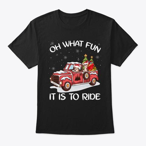 Chihuahua With Red Car Christmas Tshirt Black T-Shirt Front