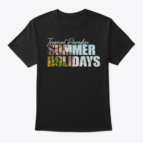 Tropical Paradise Summer Holidays Black T-Shirt Front