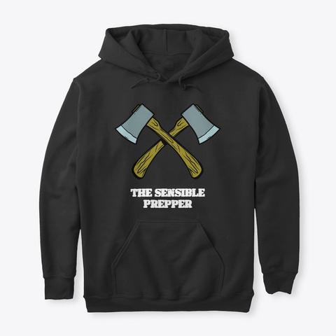 The Sensible Prepper Duel Axe Logo Black T-Shirt Front