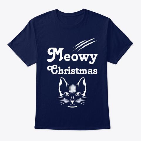 Meowy Christmas Cat Pun Christmas Navy T-Shirt Front
