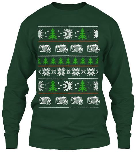 Faux Vintage Christmas Sweater   Cameras Forest Green T-Shirt Front