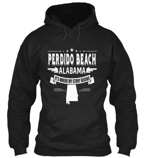 Perdido Beach Alabama Black T-Shirt Front