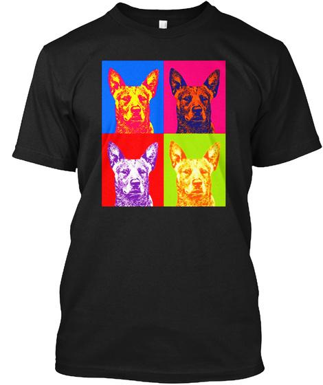 Cattle Dog Pop Art Shirt Black T-Shirt Front