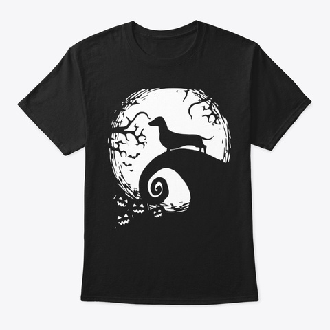 Dachshund And Moon Halloween For Dachshu Black T-Shirt Front