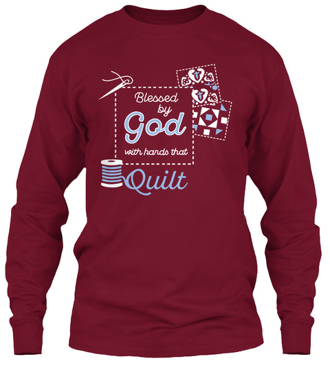 Blessed By God With Hands That Quilt Cardinal Red T-Shirt Front