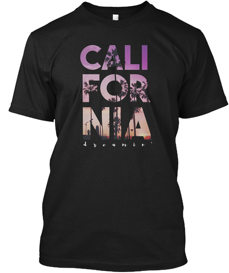 California Dreaming Palm Black T-Shirt Front