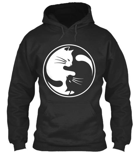 Love Ying Yang Cat Jet Black Sweatshirt Front