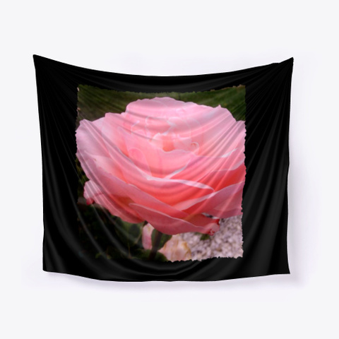 Soft Pink Rose Petals Black T-Shirt Front