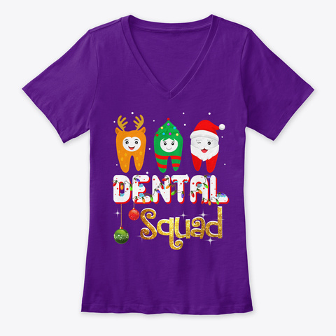 Dental Squad Funny Dentist Christmas Team Purple  T-Shirt Front