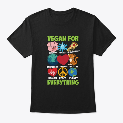 Vegetarian Gifts Black T-Shirt Front