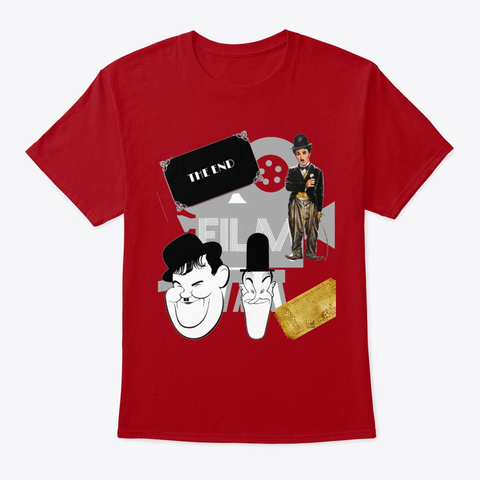 Laurel And Hardy, Chaplin  Deep Red T-Shirt Front