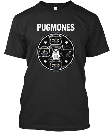 Pugmones Black T-Shirt Front