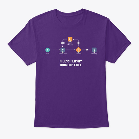 A Less Flashy Wakeup Call (Dark) Purple T-Shirt Front