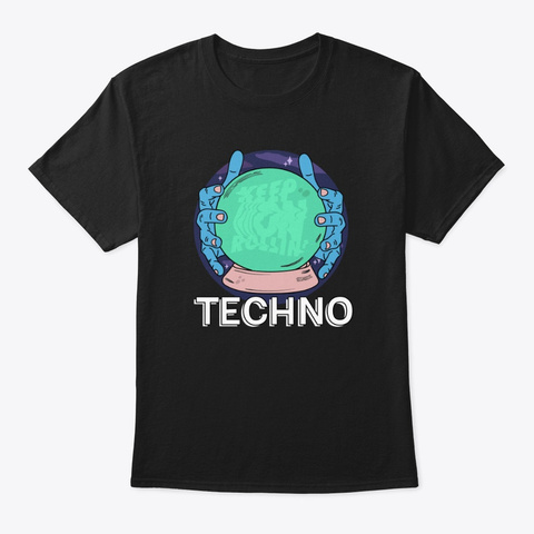 Techno Dance Music Keep Rolling Black T-Shirt Front
