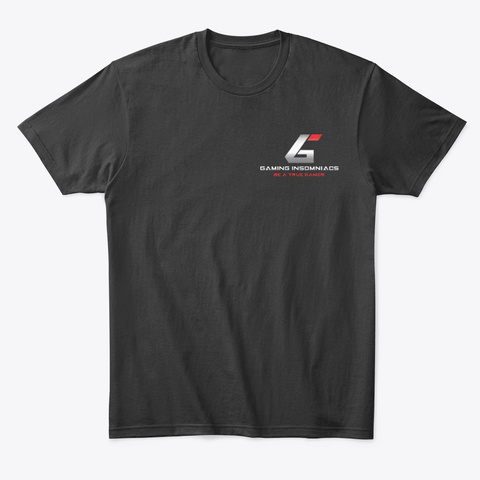 """Gaming Insomniacs """"Be A True Gamer"""" Line Black T-Shirt Front"""