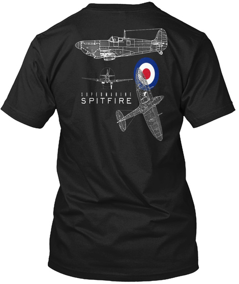 Spitfire Blueprint Custom Aviation Shirt Black T-Shirt Back