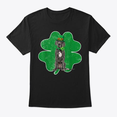 Great Dane Leprechaun Irish Shamrockin S Black T-Shirt Front