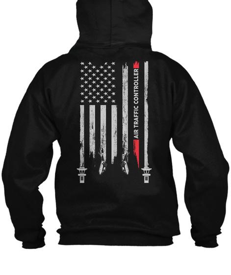 Air Traffic Controller Zipper Hoodie Black T-Shirt Back