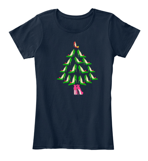 High Heel Christmas Tree   Xmas Popular New Navy T-Shirt Front