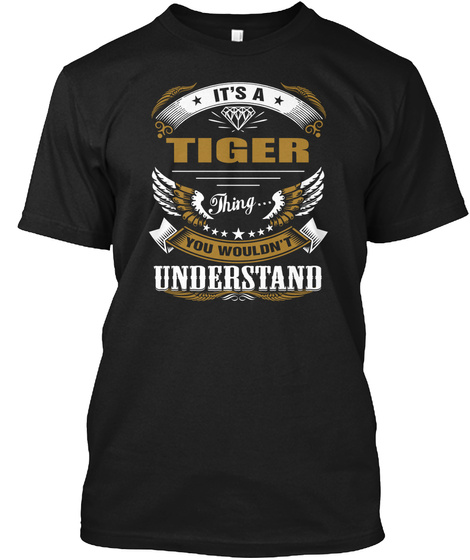 Tiger Awesome Black Gift Tee Black T-Shirt Front