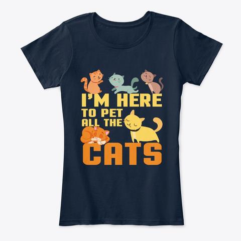 Cats Lover Funny Men Womens Kids T Shirt New Navy T-Shirt Front