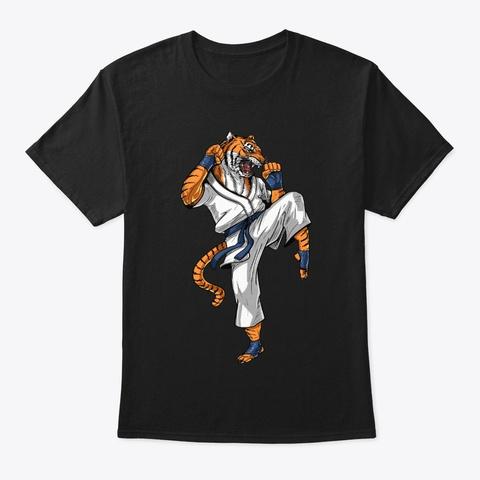 Tiger Karate Fighter Black T-Shirt Front