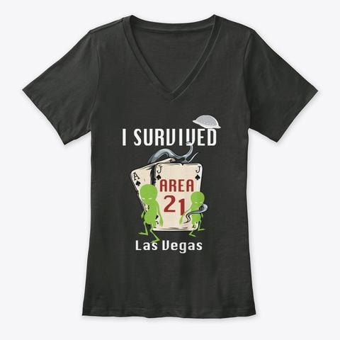I Survived Area 21 (Dark) Black T-Shirt Front