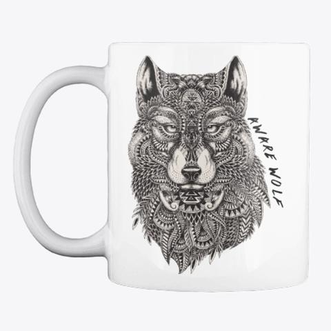 Aware Wolf Mug White T-Shirt Front