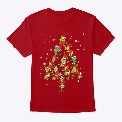 Merry Grinchmas Deep Red T-Shirt Front