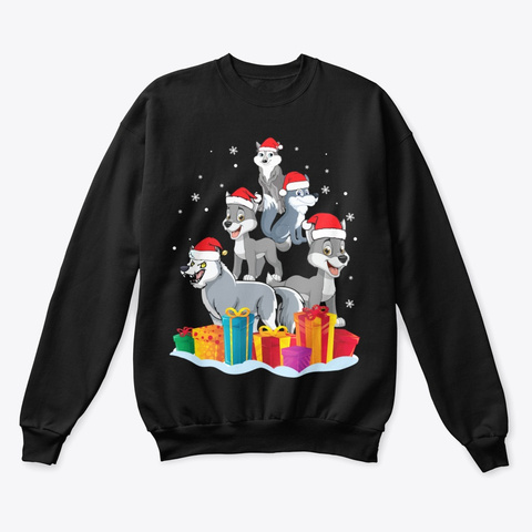Wolf With Noel Hat Christmas Tree Black T-Shirt Front
