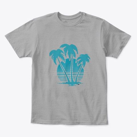 Palm Trees Against A Sunset Light Heather Grey  T-Shirt Front
