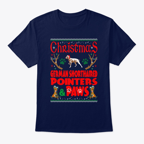 Christmas Shorthaired Pointers Paws Gift Navy T-Shirt Front