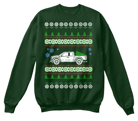 Raptor F150  Ugly Christmas Sweater Xmas Deep Forest  T-Shirt Front