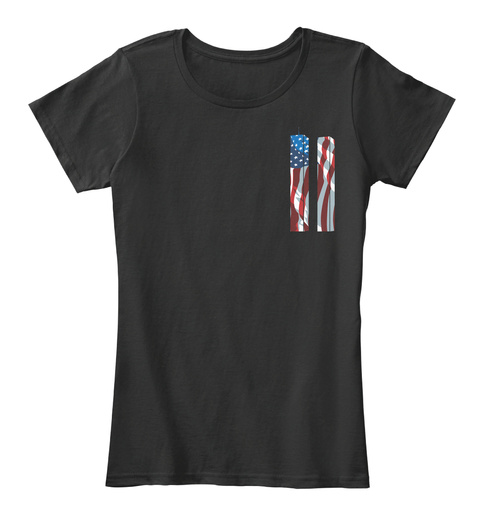 We Will Never Forget September 11 2001! Black T-Shirt Front