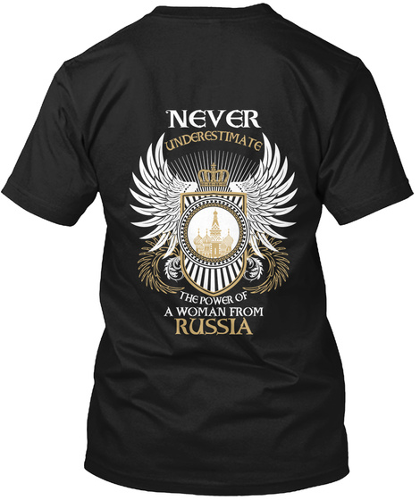 Woman From Russia Black T-Shirt Back