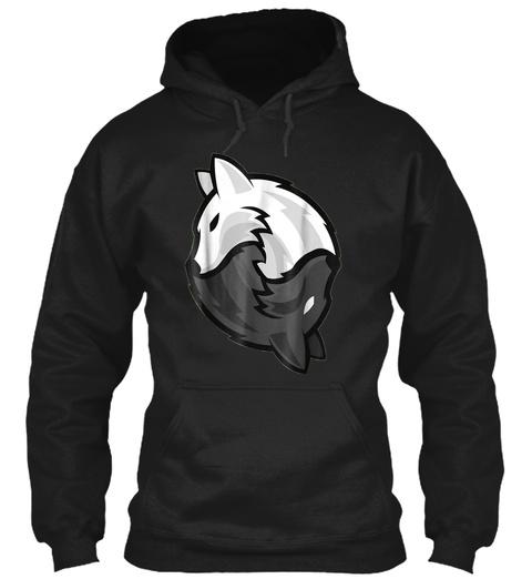 Wolf Shirt Wolves Yin And Yang Zen T Shi Black T-Shirt Front
