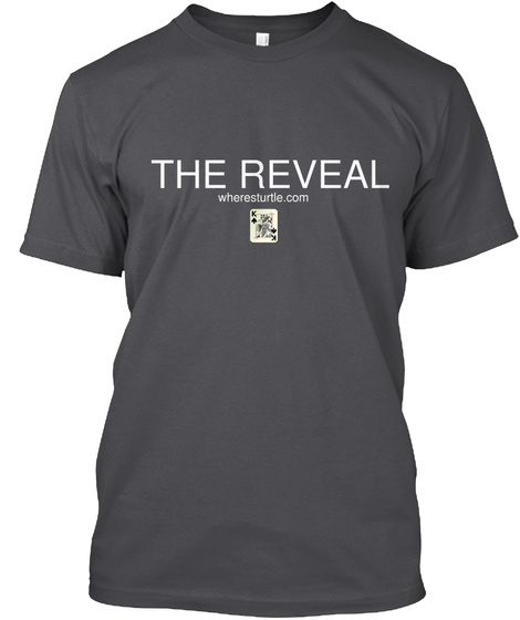 The Reveal Wheresturtle.Com Charcoal T-Shirt Front