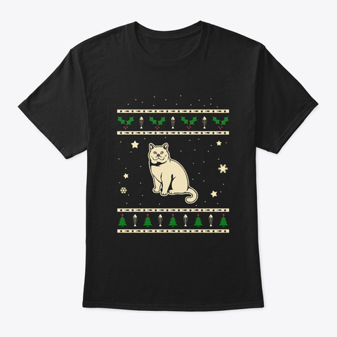 Christmas British Shorthair Gift Black T-Shirt Front