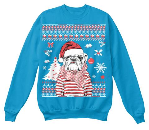 Bulldog Christmas Sapphire Blue T-Shirt Front