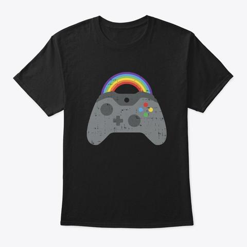 Gaymer Gay Pride Black T-Shirt Front