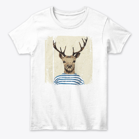 Hipster Deer Tee White T-Shirt Front