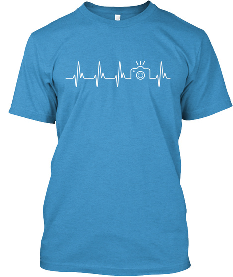 Camera Heartbeat Heathered Bright Turquoise  T-Shirt Front
