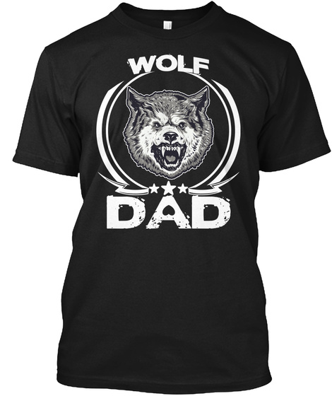 Wolf Dad Black T-Shirt Front
