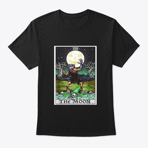 The Moon Tarot Card T Shirt Halloween Black T-Shirt Front