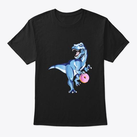 Dinosaur Donut Shirt Dino Doughnut Black T-Shirt Front
